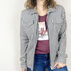 Zara black and white striped zip up knit jacket